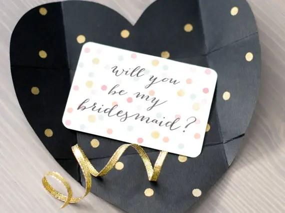 heart be my bridesmaid card
