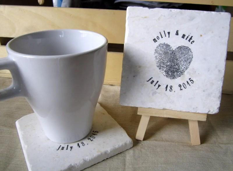 heart thumbprint coaster favors