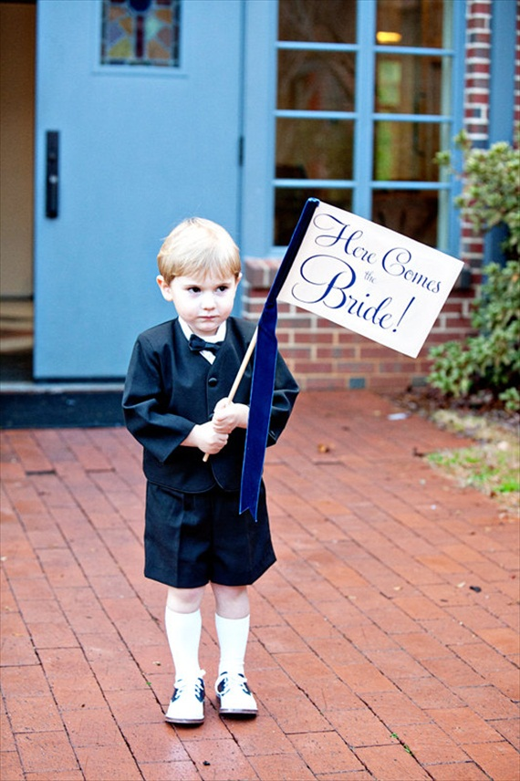 here comes the bride banner - ring bearer pillow ideas