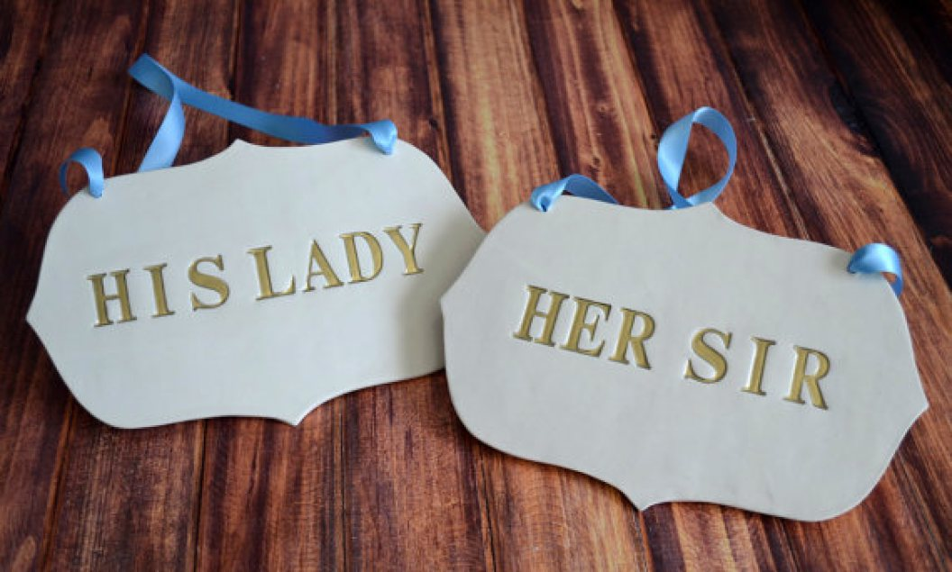 his lady her sir | via bride and groom chair signs http://emmalinebride.com/decor/bride-and-groom-chairs/