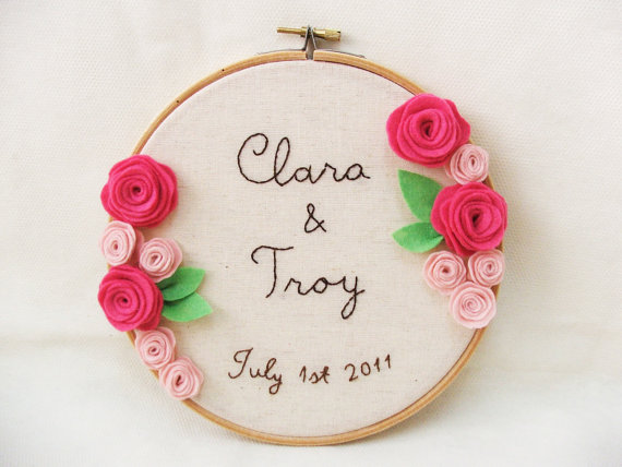 wedding hoop art with flowers
