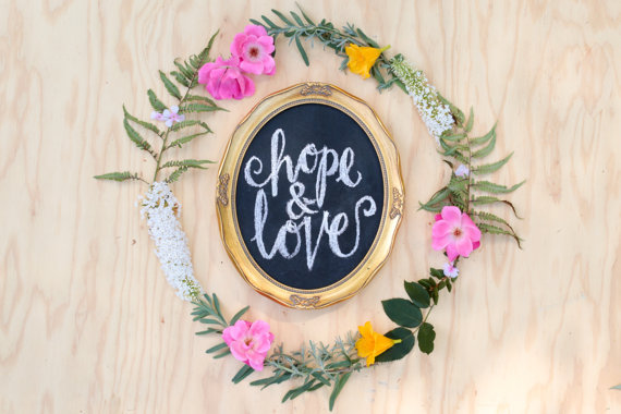 hope and love chalkboard sign