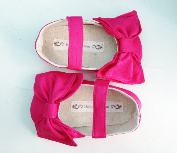 hot pink bow flower girl shoes