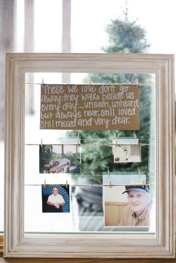 how to honor loved one at wedding who passed away - photos hanging in frames