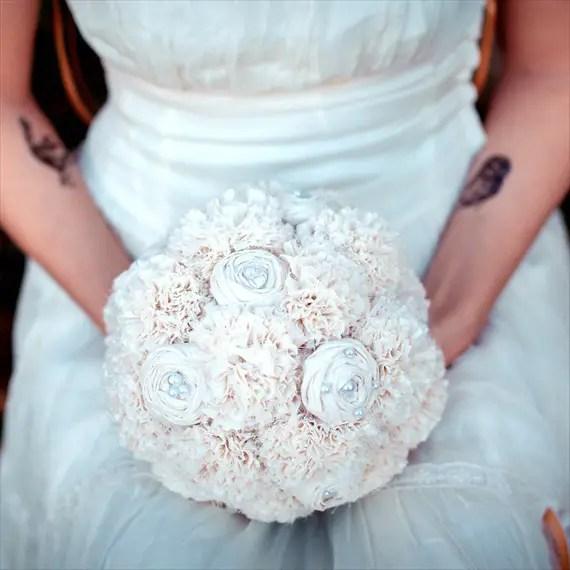 Fabric Flower Bouquet (by Autumn & Grace Bridal) - hydrangea fabric bouquet