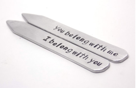i belong with you you belong with me collar stays via 27 Amazing Anniversary Gifts by Year http://emmalinebride.com/gifts/anniversary-gifts-by-year/