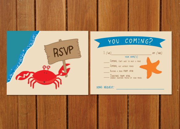 song request on rsvp - beach wedding invitation