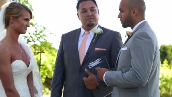 groom reads bride wedding vows