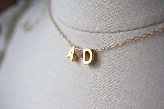 initial necklace with heart