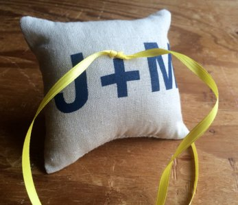 initials burlap pillow | via Rustic Ring Pillows http://emmalinebride.com/ceremony/rustic-ring-pillows/