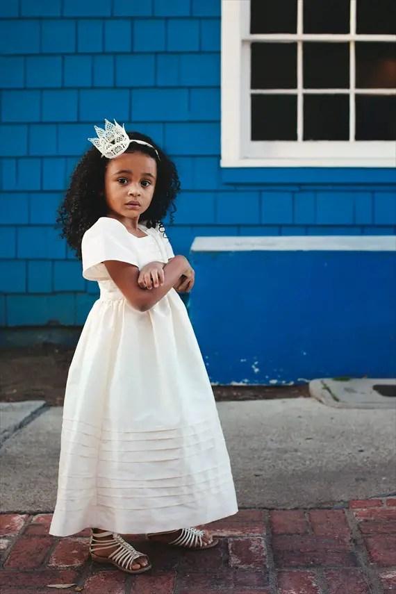 ivory dress (love the hair crown, too!) - spring flower girl dresses #wedding