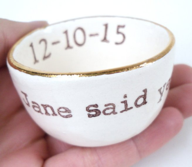 jane said yes ring dish with gold rim by elyciacamille
