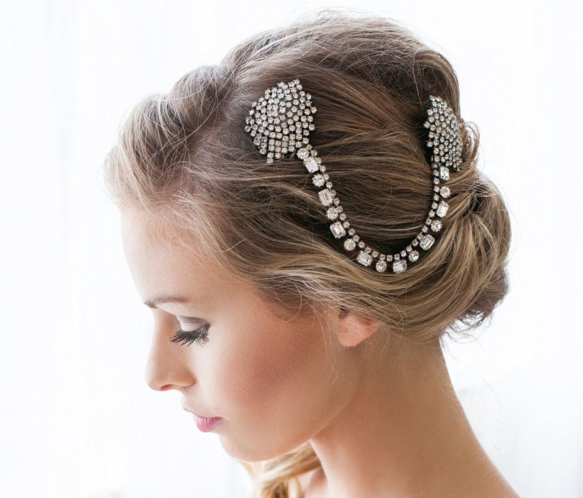 jeweled hair comb by cloe noel, photo by la candella weddings
