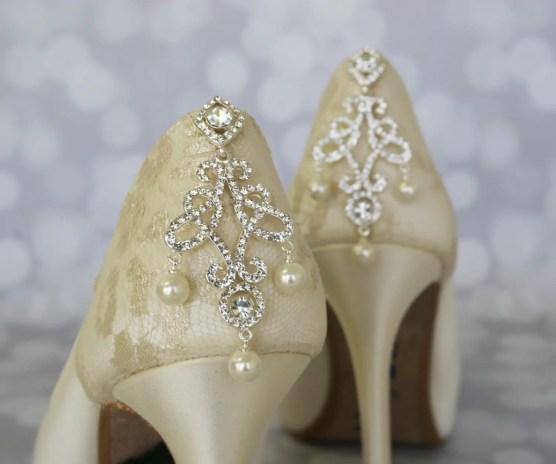 ivory jeweled wedding shoes
