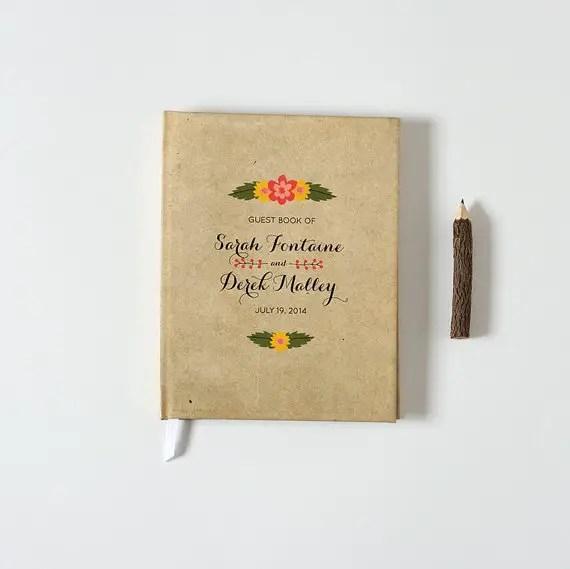 Kraft Wedding Ideas That Work (via EmmalineBride.com) - kraft guest book by crafty pie
