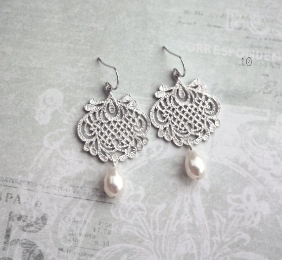 lace bridal earrings filigree