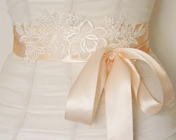 lace bridal sash satin