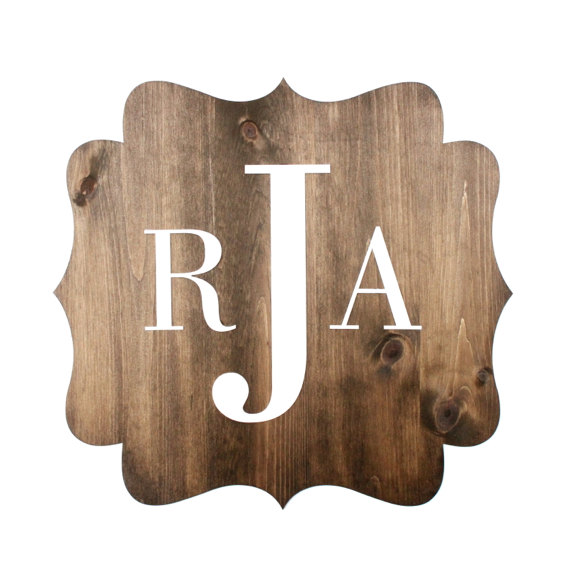 large wood monogram sign