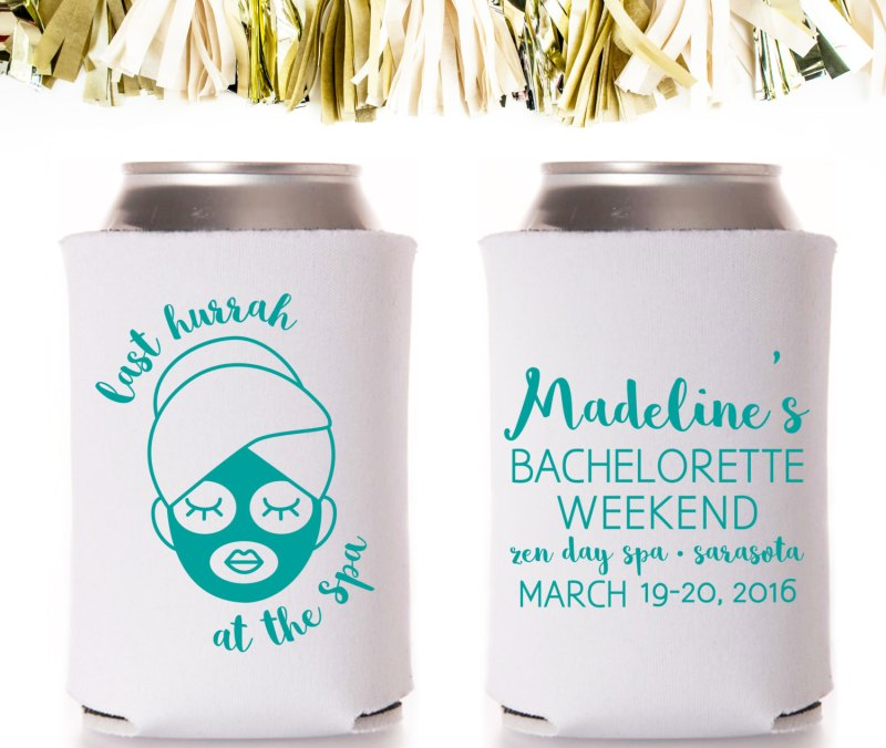 last hurrah at the spa bachelorette favors koozies | bachelorette spa party http://emmalinebride.com/bachelorette/spa-party/