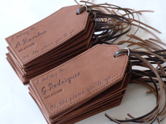 wedding gift ideas from a to z - leather luggage tags by susan holland