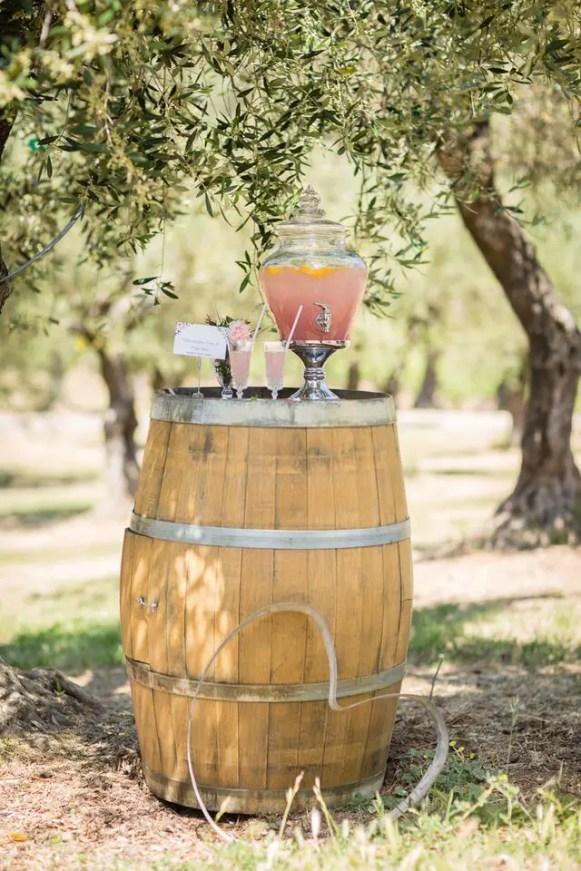 lemonade on wine barrel