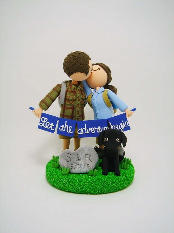let the adventure begin cake topper for hikers with dog