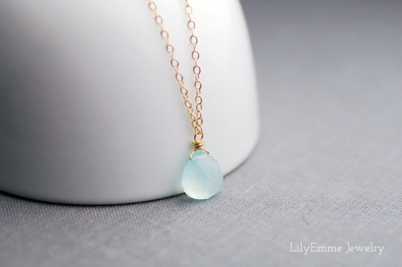 handcrafted jewelry (by lily emme jewelry) - light blue drop necklace