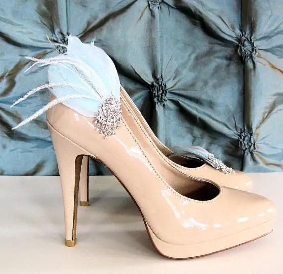 light blue shoe clips feather