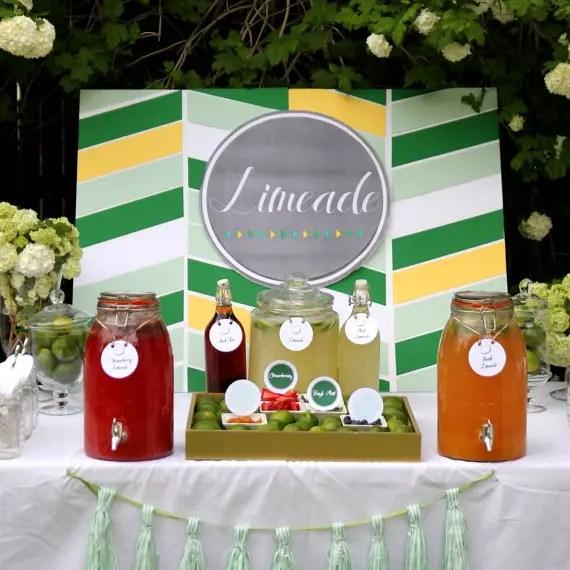 Wedding Drink Station Ideas - limeade drink station
