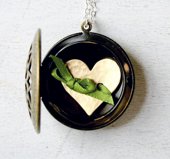 Wedding Jewelry for Mom - locket with stamped initial (by the dedication company)