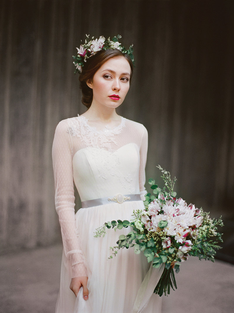 long sleeve wedding gown gray sash