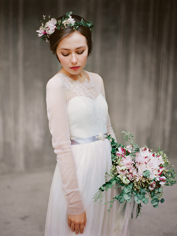 long sleeve wedding gown - left