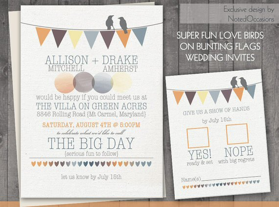 love birds printable wedding invitations
