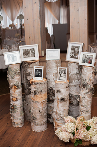 loved ones photos on frames on top of wood logs