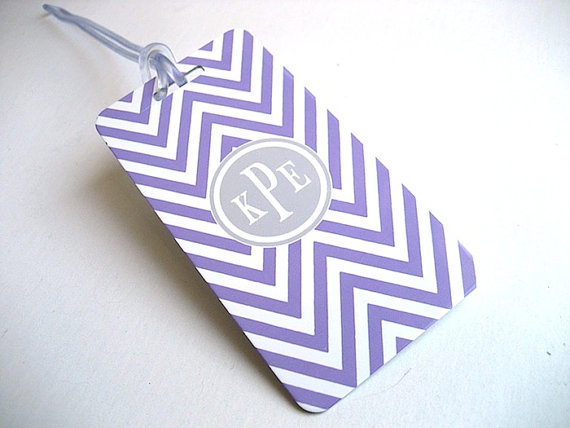 Best Bridesmaid Gifts from A-Z (via EmmalineBride.com) - tag for luggage in chevron by village vinyl