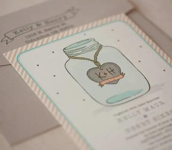 Wedding Invitations Mason Jar: Wedding Invitations With Mason Jar Design
