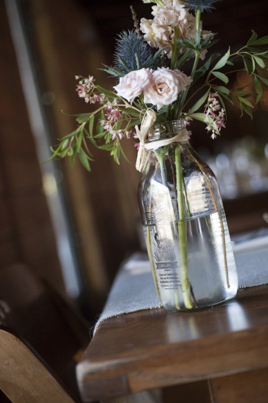 milk bottles wedding decor