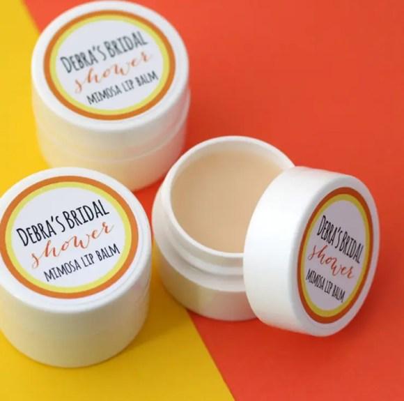 lip balm shower favor by The Favor Stylist | http://emmalinebride.com/favors/lip-balm-shower-favor/