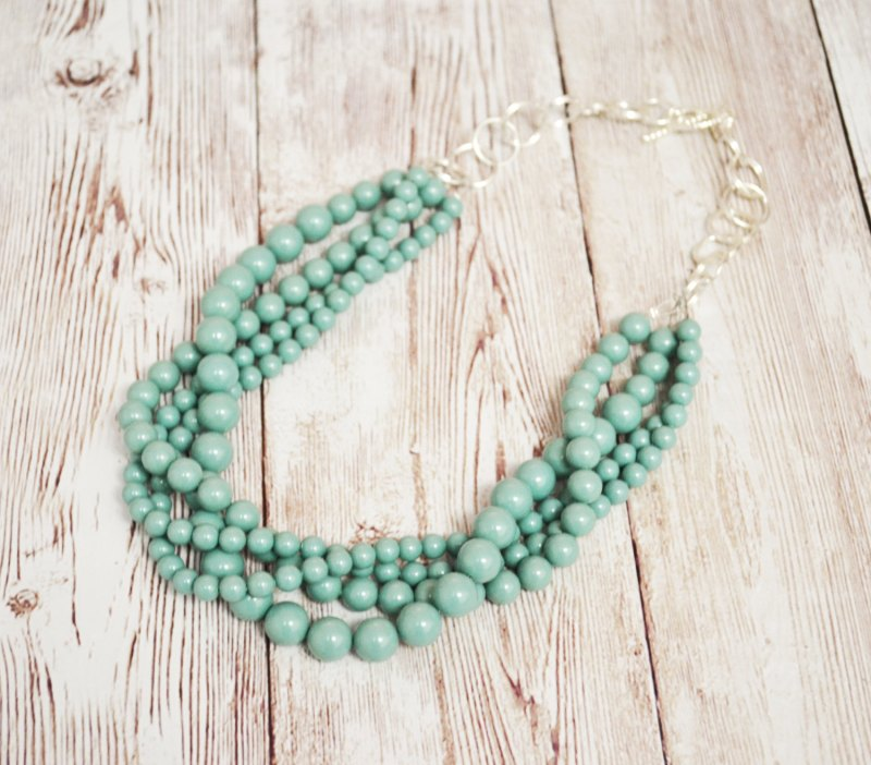 mint layered pearl necklace etsy finds for bridesmaids