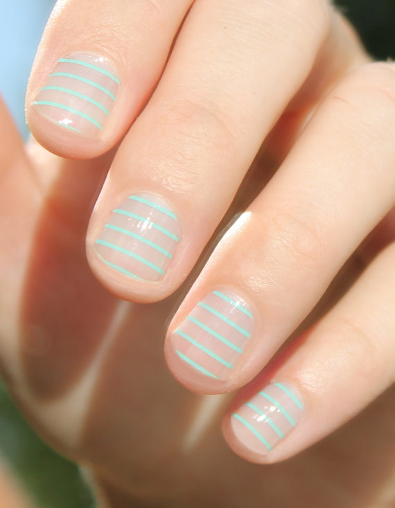 mint stripes nails
