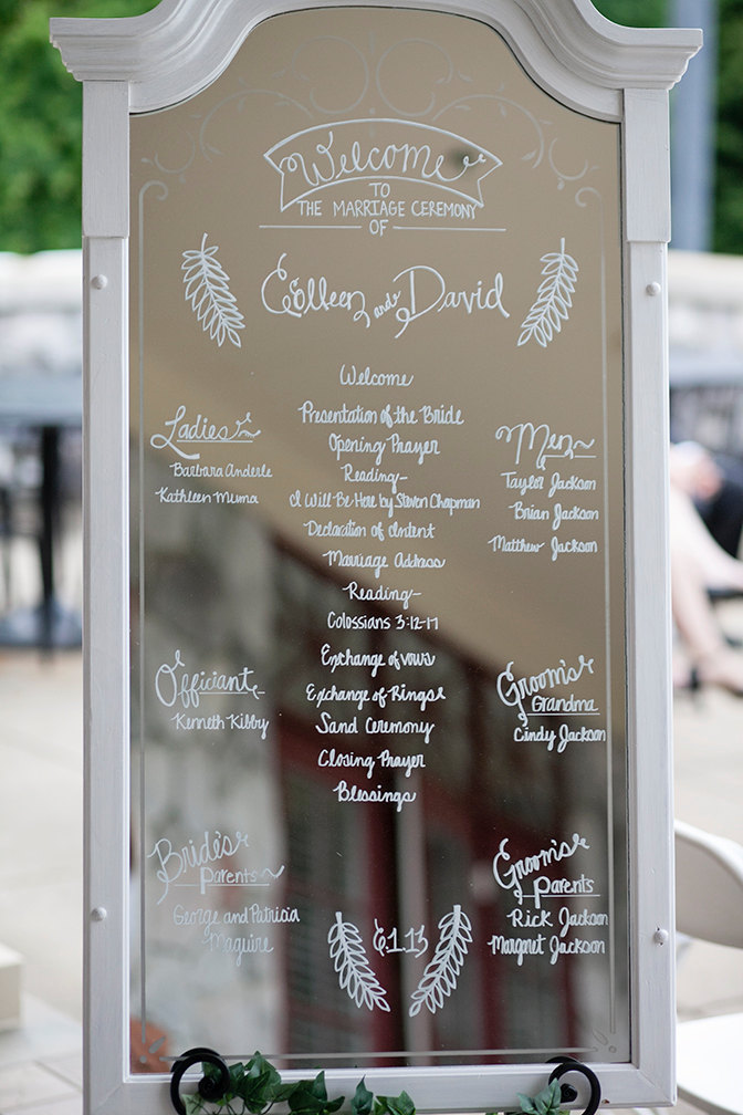 Skip a paper program and use a mirror sign instead! | http://emmalinebride.com/decor/wedding-mirror-signs/