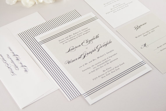 modern lines wedding invitations