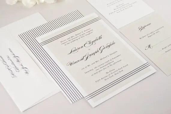 modern lines wedding invitations