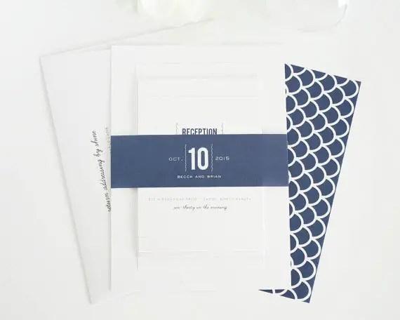 navy modern wedding invitations