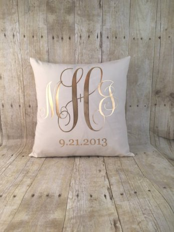 monogram wedding pillow cover