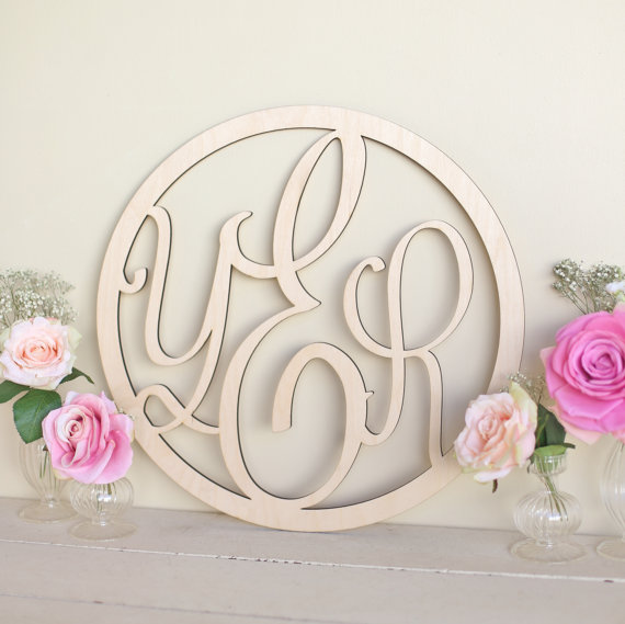 monogram wood sign by bragging bags | ceremony accessories weddings https://emmalinebride.com/ceremony/ceremony-accessories-weddings/