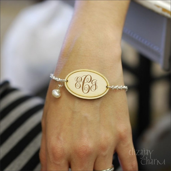 wedding trend: great idea! put on the monogram bracelet after the ceremony to officially 'announce' your new initials (via Monogram Necklace for Weddings from Emmaline Bride)