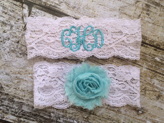 Something Blue Monogrammed Garter
