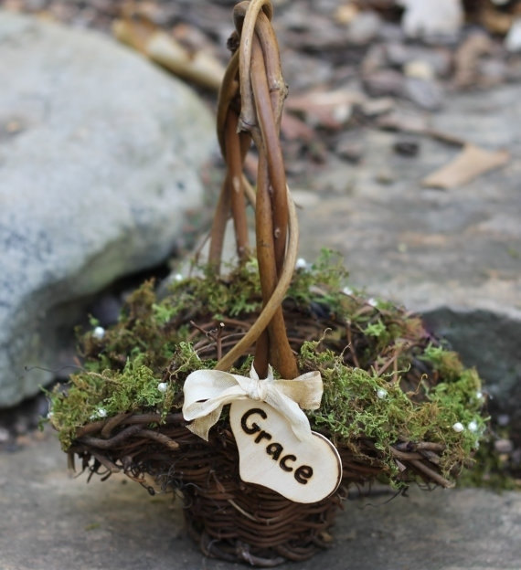moss basket   Rustic Flower Girl Baskets