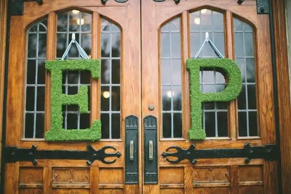 moss wedding ideas - monogram letters ceremony doors